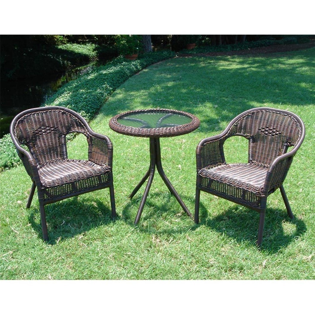 Outdoor Wicker Resin Patio Furniture Bistro Set in Mocha