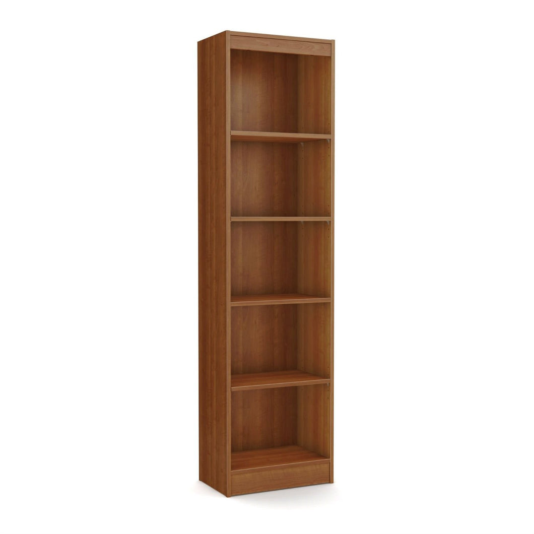 Cherry Wood Finish 71-inch Tall Skinny 5-Shelf Space Saving Bookcase