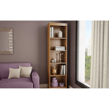 Load image into Gallery viewer, Cherry Wood Finish 71-inch Tall Skinny 5-Shelf Space Saving Bookcase