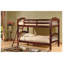 Load image into Gallery viewer, Twin over Twin Bunk Bed with Arch Headboard Footboard in Cherry