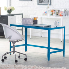 Load image into Gallery viewer, Simple Modern Metal Office Desk in Teal Blue Finish