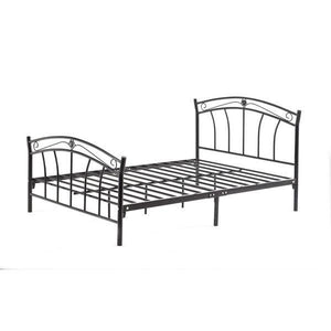 Twin size Stylish Black Metal Platform Bed Frame with Headboard and Footboard