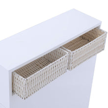Load image into Gallery viewer, White Bathroom Storage Floor Cabinet with Baskets and Casters