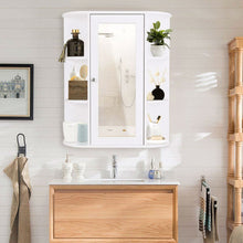 Load image into Gallery viewer, White Bathroom Wall Mounted Medicine Cabinet with Storage Shelves