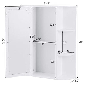 White Bathroom Wall Mounted Medicine Cabinet with Storage Shelves