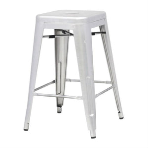 Indoor Outdoor Backless Stacking Counter Height Bar Stool in Gunmetal Galvanized Steel
