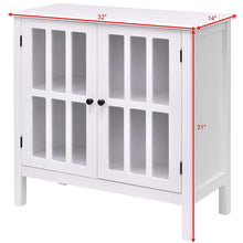 Load image into Gallery viewer, White Wood Bathroom Storage Floor Cabinet with Glass Doors