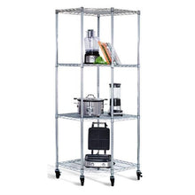 Load image into Gallery viewer, Heavy Duty 4-Tier Corner Storage Rack Shelving Unit with Casters