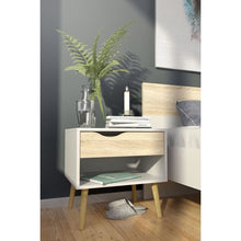 Load image into Gallery viewer, Modern Mid Century Style End Table Nightstand in White & Oak Finish