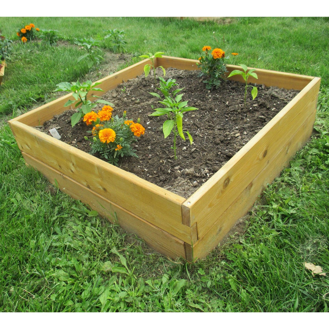 Cedar Wood 3-Ft x 3-Ft x 11-inch Raised Garden Bed Kit - Made in USA