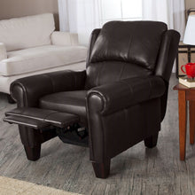Load image into Gallery viewer, High Quality Top Grain Leather Upholstered Wingback Recliner Club Chair in Chocolate Brown