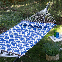 Load image into Gallery viewer, Blue White Quilted Hammock with 13-ft Heavy Duty Black Metal Stand