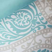 Load image into Gallery viewer, Twin / Twin XL Comforter Set in Light Blue White Grey Damask Pattern