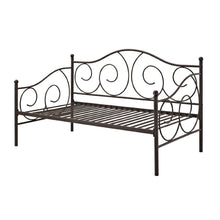 Load image into Gallery viewer, Twin size Scrolling Metal Day Bed Frame in Contemporary Brushed Bronze Dark Pewter