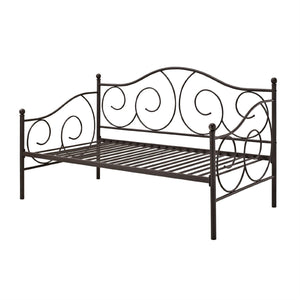 Twin size Scrolling Metal Day Bed Frame in Contemporary Brushed Bronze Dark Pewter