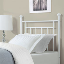 Load image into Gallery viewer, Twin size White Metal Headboard with Simple Lines and Decorative Finals