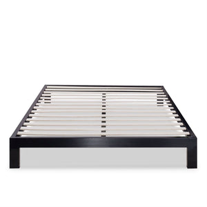 Twin size Asian Style Black Metal Platform Frame with Wooden Slats