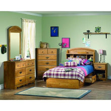 Load image into Gallery viewer, Twin size Arched Bookcase Headboard in Country Pine Finish