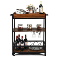 Load image into Gallery viewer, Wood Iron Kitchen Cart with Removeable Tray Top and Wheels