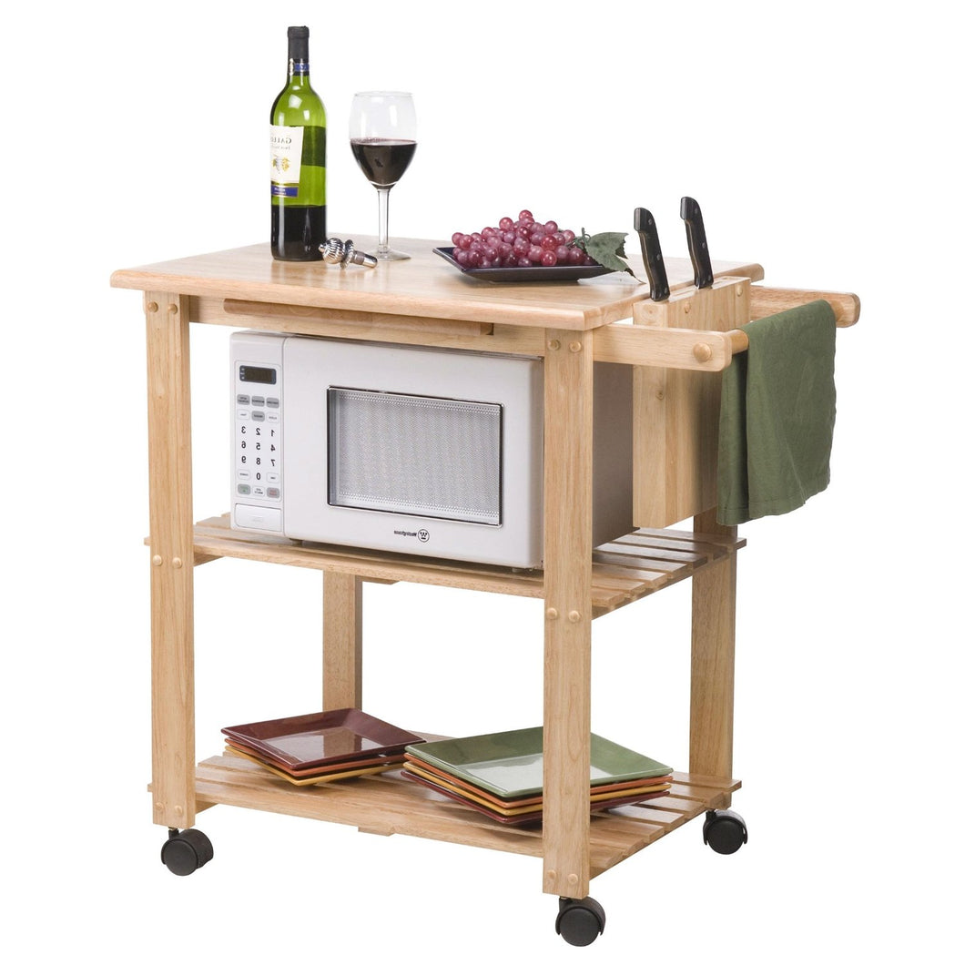 Solid Wood Kitchen Utility Microwave Cart with Pull-Out Cutting Board