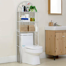 Load image into Gallery viewer, Over Toilet Bathroom Space Saving Storage Shelving Unit in White Metal Finish