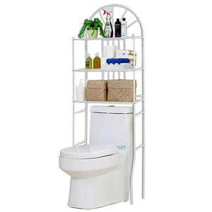 Over Toilet Bathroom Space Saving Storage Shelving Unit in White Metal Finish