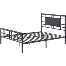 Load image into Gallery viewer, Twin Metal Platform Bed Frame with Black Upholstered Center Panel Headboard