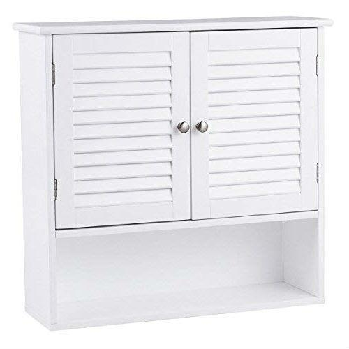 White Wall Mount Bathroom Cabinet with Louver Doors and Metal Knobs