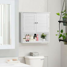 Load image into Gallery viewer, White Wall Mount Bathroom Cabinet with Louver Doors and Metal Knobs
