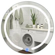 Load image into Gallery viewer, Modern 20-inch Round Bathroom Wall Mirror with Touch Button LED Light