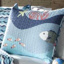 Load image into Gallery viewer, Twin Blue Serenity Sea Fish Coral Coverlet Quilt Bedspread Set