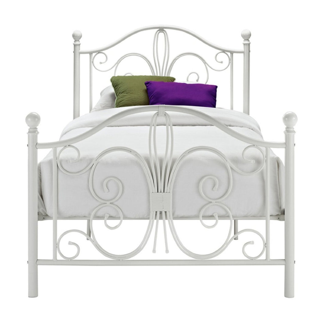 Twin White Metal Platform Bed Frame with Headboard and Footboard