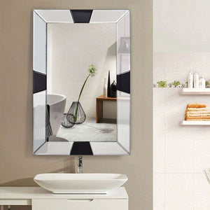 Modern 31 x 23 inch Rectangle Beveled Bathroom Wall Mirror