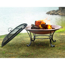 Load image into Gallery viewer, Large 35-inch Copper Bowl Fire Pit with Steel Stand and Cover
