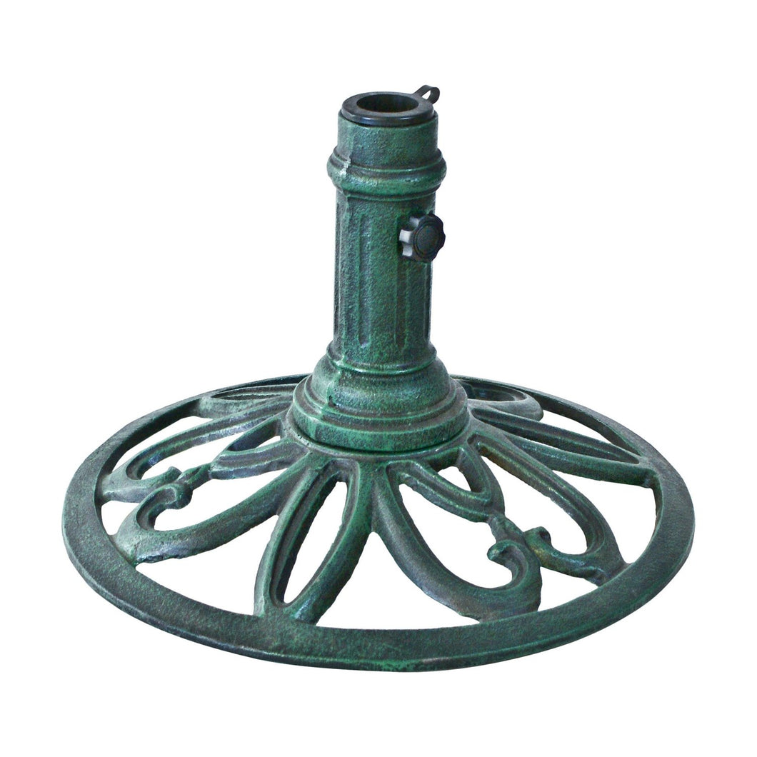 Cast Iron Weather Resistant Umbrella Base in Verde Green