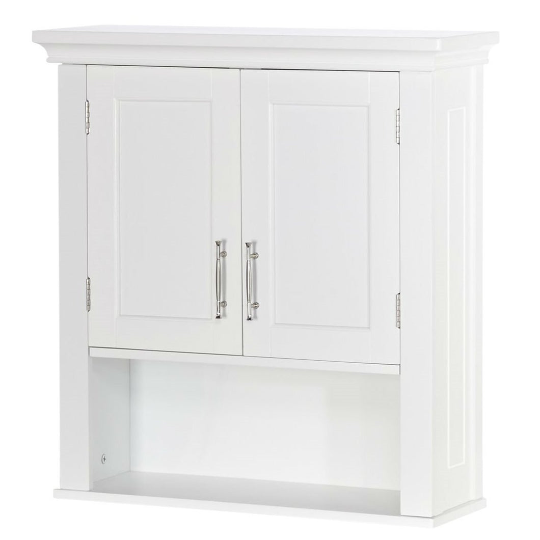 White Wood Bathroom Wall Mounted Storage Cabinet with Bottom Shelf