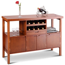 Load image into Gallery viewer, Modern Sideboard Buffet Cabinet with Wine Rack in Brown Wood Finish