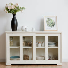 Load image into Gallery viewer, Modern White Wood Buffet Sideboard Cabinet with Glass Sliding Door