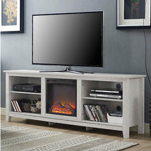 Load image into Gallery viewer, White Wash Wood 70-inch TV Stand Fireplace Space Heater