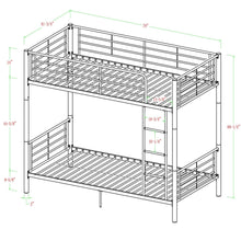 Load image into Gallery viewer, Twin over Twin Sturdy Steel Metal Bunk Bed in White Finish