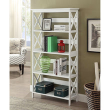 Load image into Gallery viewer, Glossy White 5-Shelf Bookcase
