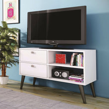 Load image into Gallery viewer, White Grey Wood Modern Classic Mid-Century Style TV Stand Entertainment Center