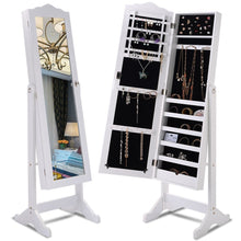 Load image into Gallery viewer, Locking White Wood Jewelry Armoire Cabinet Floor Mirror