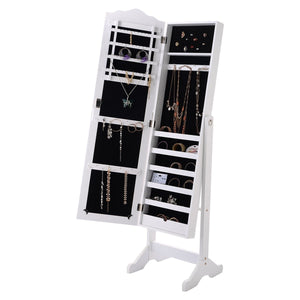 Locking White Wood Jewelry Armoire Cabinet Floor Mirror
