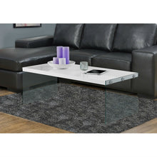 Load image into Gallery viewer, White Modern Rectangular Coffee Table with Tempered Glass Legs