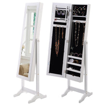 Load image into Gallery viewer, White Wood Jewelry Storage Cabinet Freestanding Floor Mirror
