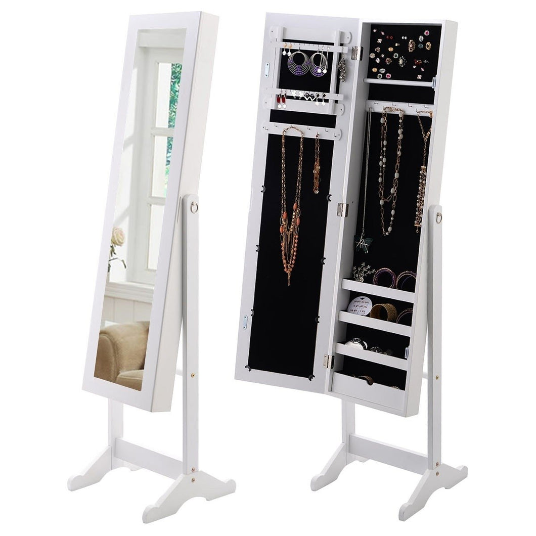 White Wood Jewelry Storage Cabinet Freestanding Floor Mirror