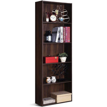 Load image into Gallery viewer, Modern 5-Tier Bookcase Storage Shelf in Brown Walnut Wood Finish
