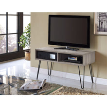 Load image into Gallery viewer, Modern TV Stand in Oak Finish with Mid-Century Style Metal Legs
