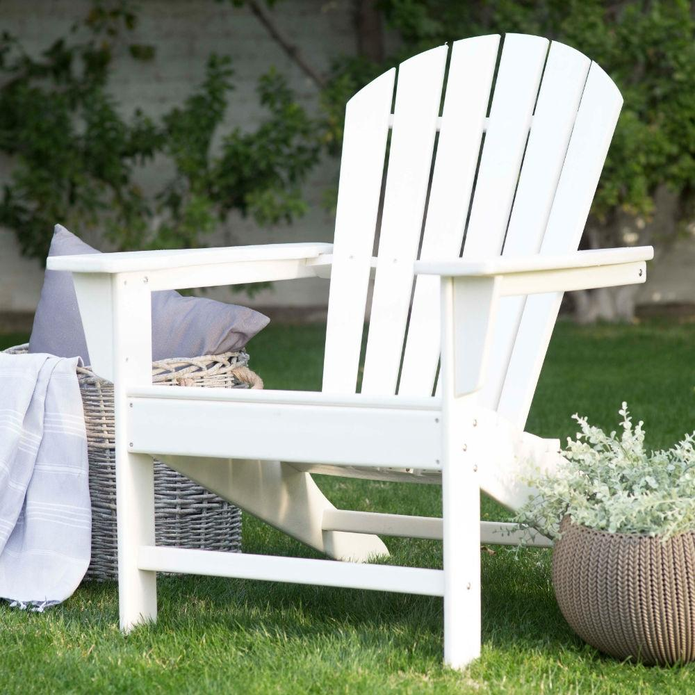Outdoor Weather Resistant Patio Deck Garden Adirondack Chair in White Resin